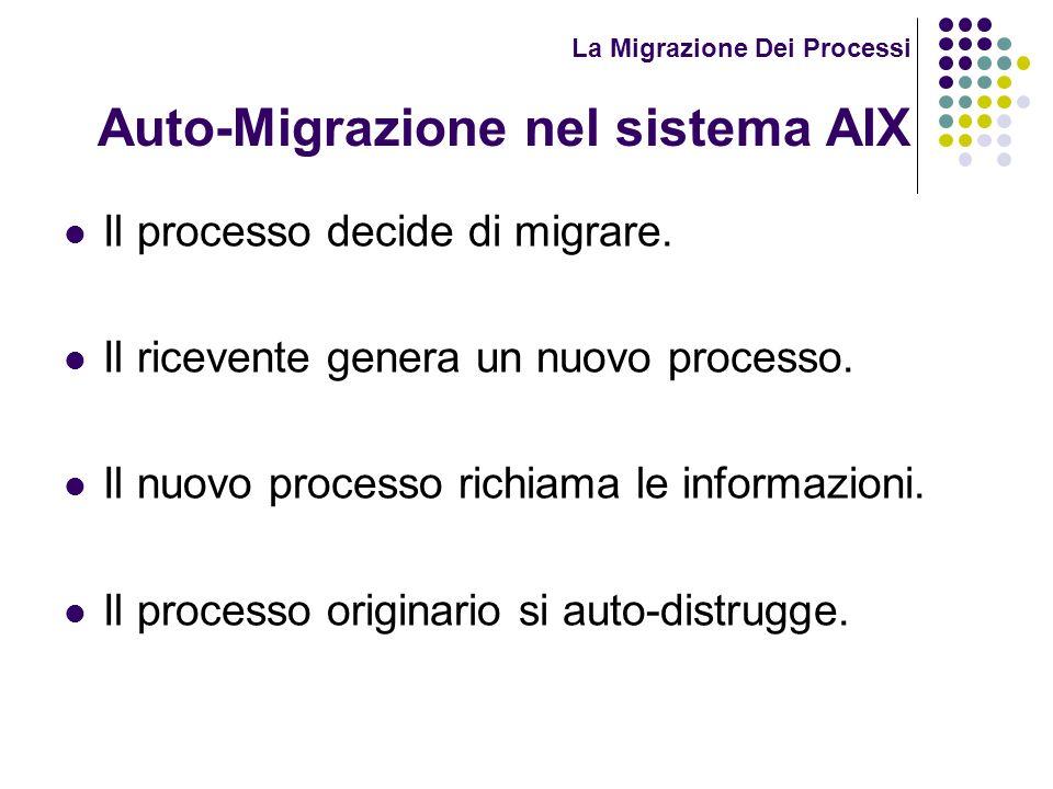 La Migrazione Dei Processi Auto-Migrazione nel sistema AIX Il processo decide di migrare. Il ricevente genera un nuovo processo. Il nuovo processo ric