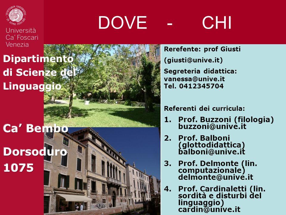 DOVE - CHI Referenti dei curricula: 1.Prof. Buzzoni (filologia) buzzoni@unive.it 2.Prof. Balboni (glottodidattica) balboni@unive.it 3.Prof. Delmonte (