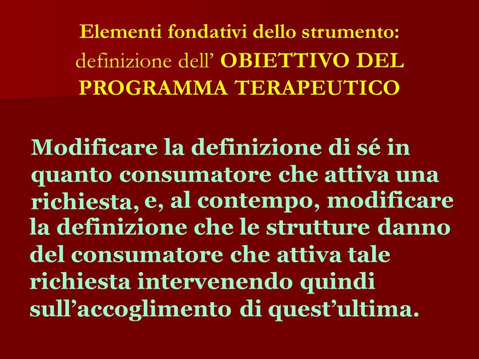 Elementi fondativi dello strumento: definizione dell OBIETTIVO DEL PROGRAMMA TERAPEUTICO Modificare la definizione di sé in quanto consumatore che att