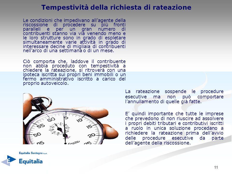 11 Tempestività della richiesta di rateazione La rateazione sospende le procedure esecutive ma non può comportare lannullamento di quelle già fatte. E