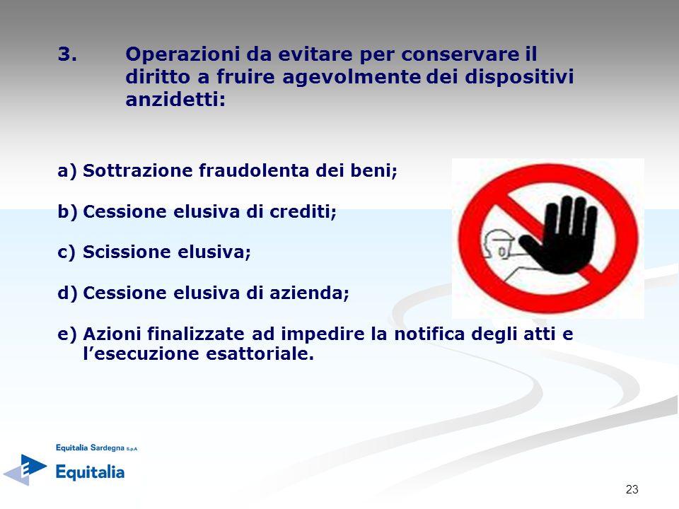 23 3.Operazioni da evitare per conservare il diritto a fruire agevolmente dei dispositivi anzidetti: a)Sottrazione fraudolenta dei beni; b)Cessione el