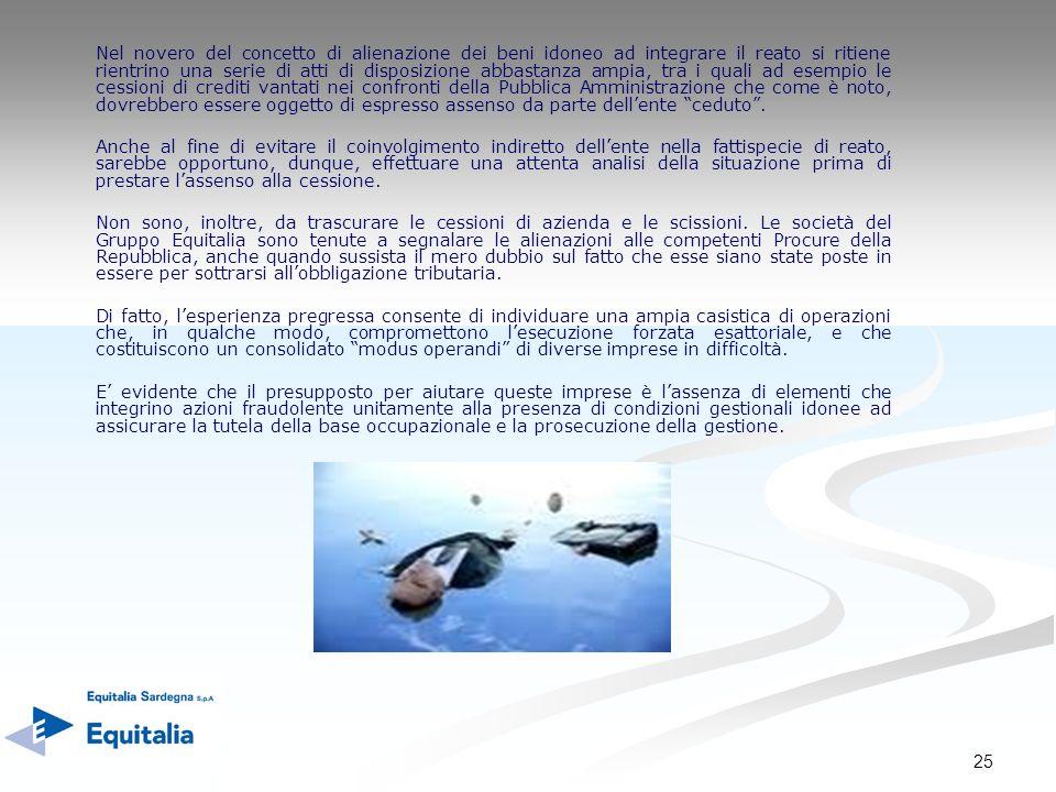 25 Nel novero del concetto di alienazione dei beni idoneo ad integrare il reato si ritiene rientrino una serie di atti di disposizione abbastanza ampi
