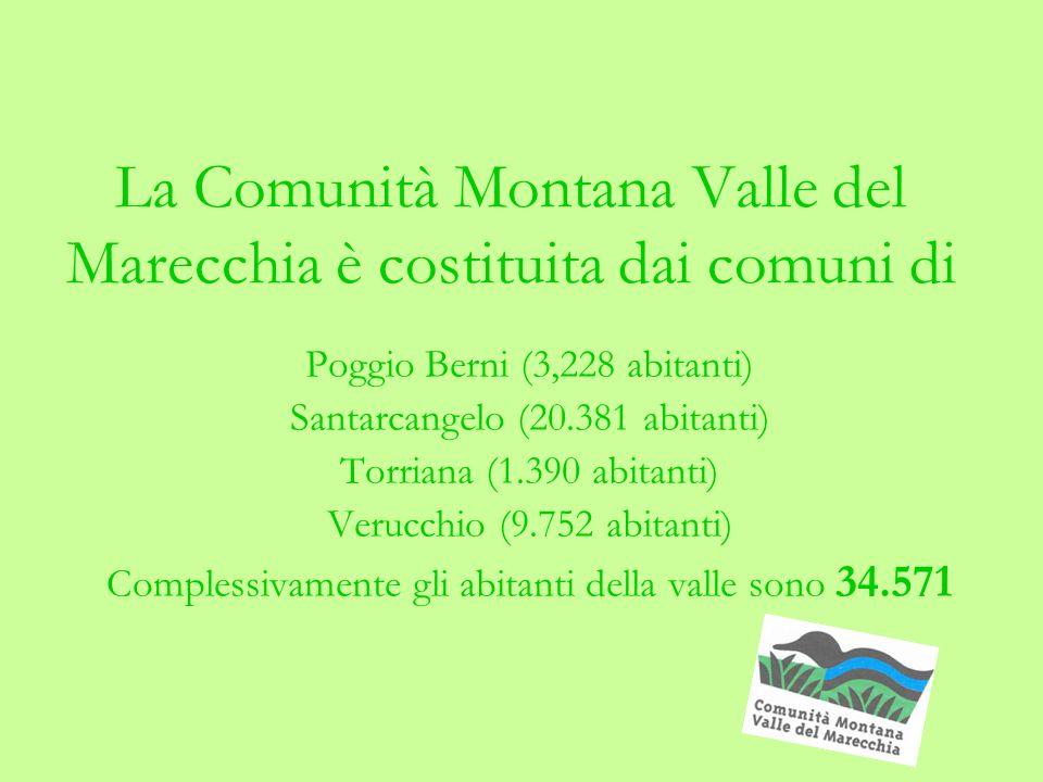 La Comunità Montana Valle del Marecchia è costituita dai comuni di Poggio Berni (3,228 abitanti) Santarcangelo (20.381 abitanti) Torriana (1.390 abitanti) Verucchio (9.752 abitanti) Complessivamente gli abitanti della valle sono 34.571