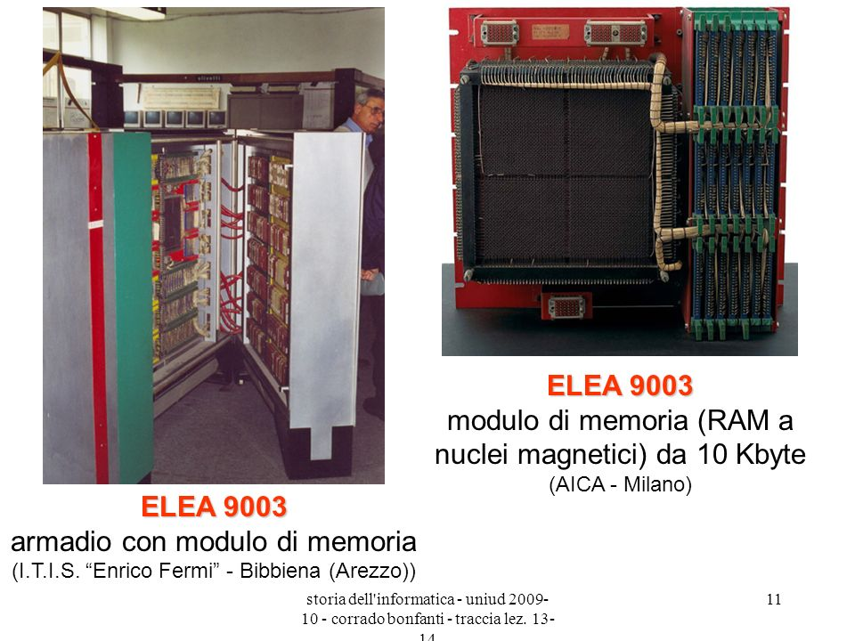 storia dell'informatica - uniud 2009- 10 - corrado bonfanti - traccia lez. 13- 14 11 ELEA 9003 ELEA 9003 armadio con modulo di memoria (I.T.I.S. Enric