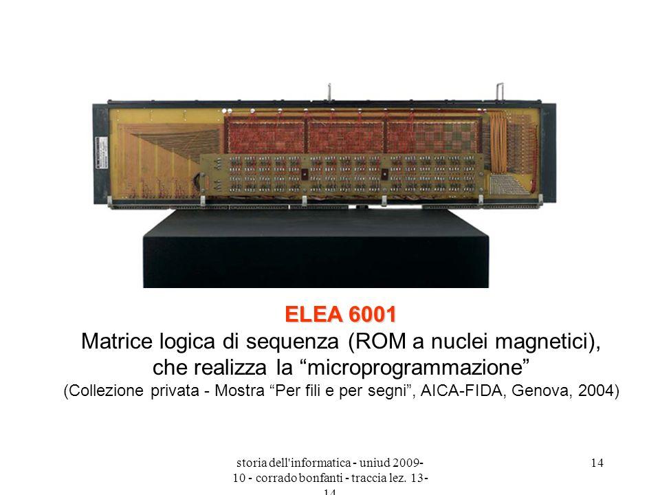 storia dell'informatica - uniud 2009- 10 - corrado bonfanti - traccia lez. 13- 14 14 ELEA 6001 ELEA 6001 Matrice logica di sequenza (ROM a nuclei magn
