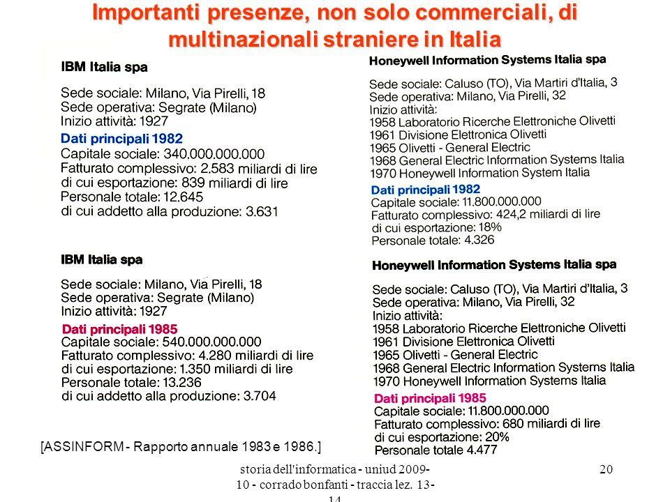 storia dell'informatica - uniud 2009- 10 - corrado bonfanti - traccia lez. 13- 14 20 Importanti presenze, non solo commerciali, di multinazionali stra