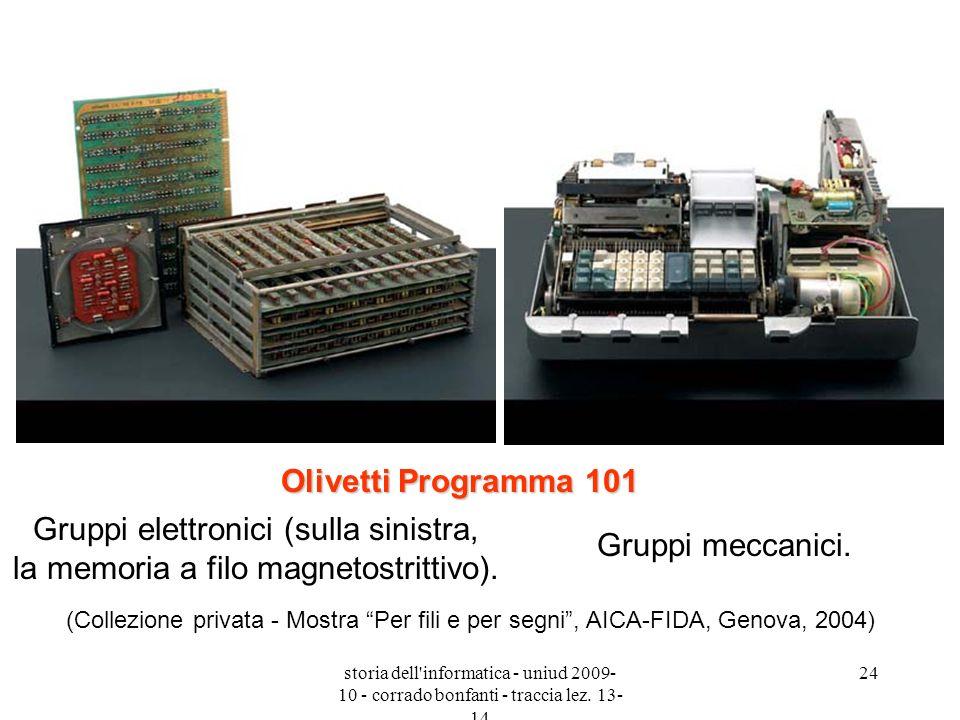 storia dell'informatica - uniud 2009- 10 - corrado bonfanti - traccia lez. 13- 14 24 Gruppi elettronici (sulla sinistra, la memoria a filo magnetostri
