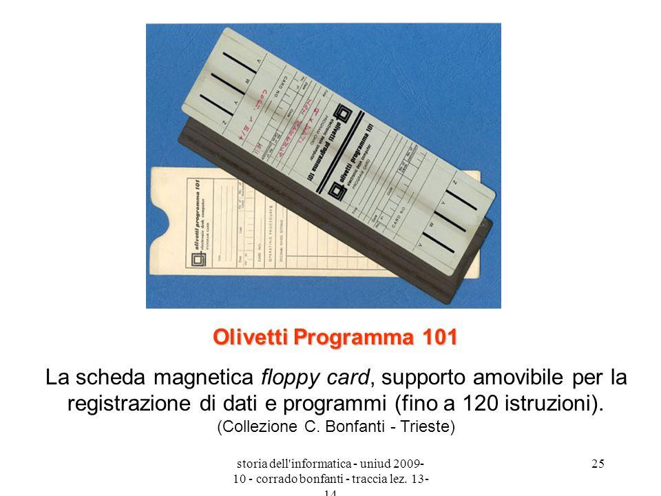 storia dell'informatica - uniud 2009- 10 - corrado bonfanti - traccia lez. 13- 14 25 Olivetti Programma 101 La scheda magnetica floppy card, supporto