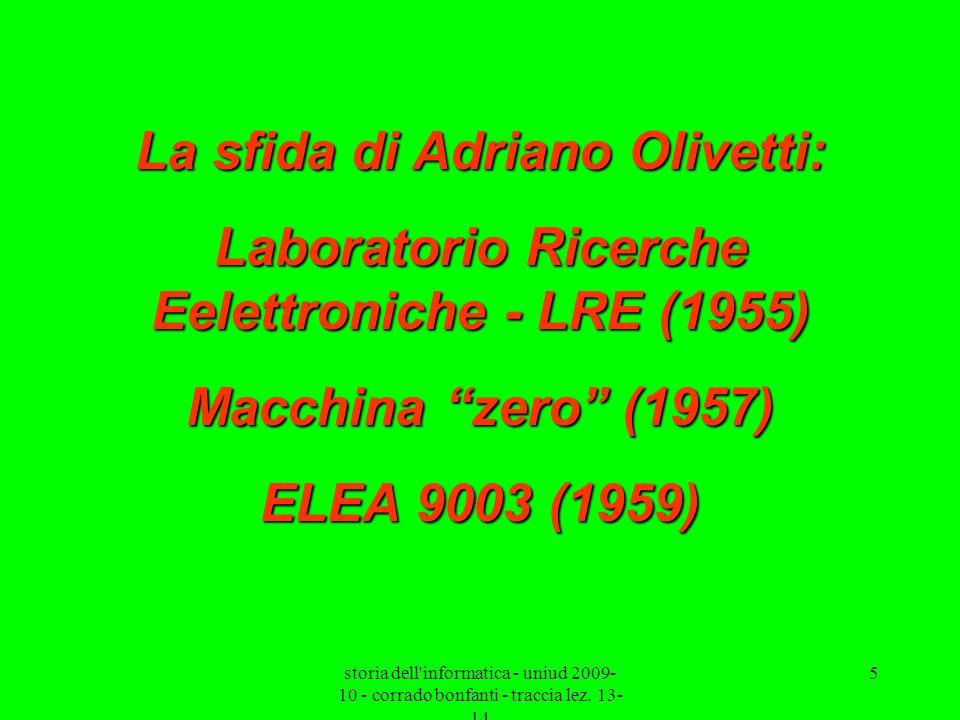 storia dell'informatica - uniud 2009- 10 - corrado bonfanti - traccia lez. 13- 14 5 La sfida di Adriano Olivetti: Laboratorio Ricerche Eelettroniche -