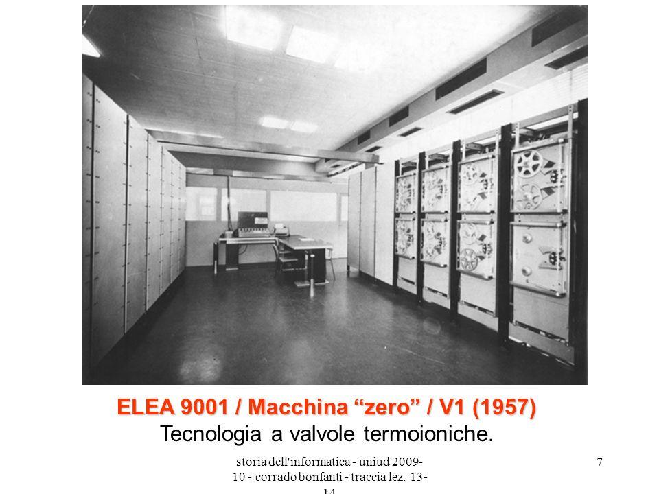 storia dell'informatica - uniud 2009- 10 - corrado bonfanti - traccia lez. 13- 14 7 ELEA 9001 / Macchina zero / V1 (1957) ELEA 9001 / Macchina zero /