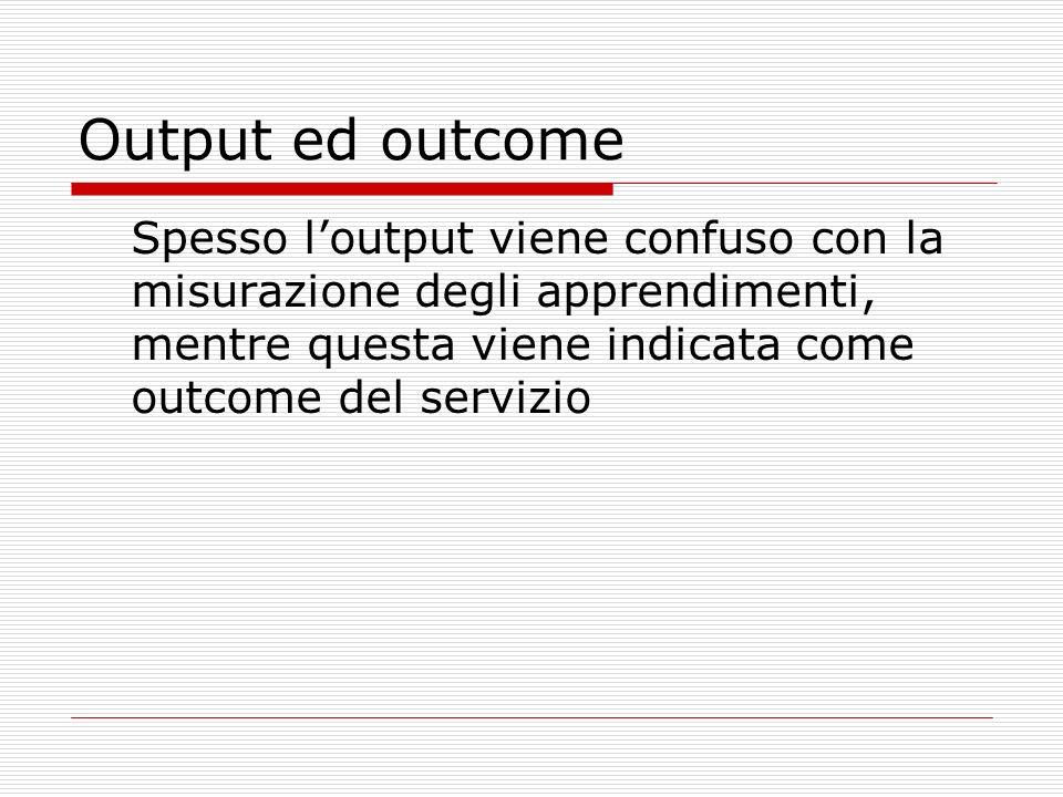 Output ed outcome Spesso loutput viene confuso con la misurazione degli apprendimenti, mentre questa viene indicata come outcome del servizio