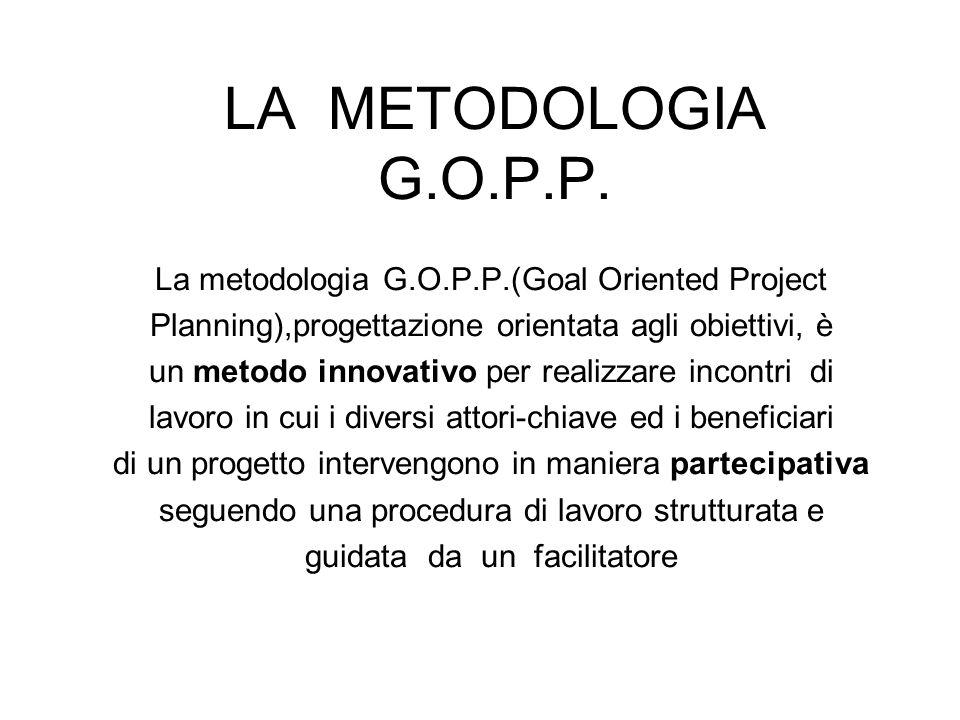 LA METODOLOGIA G.O.P.P. La metodologia G.O.P.P.(Goal Oriented Project Planning),progettazione orientata agli obiettivi, è un metodo innovativo per rea