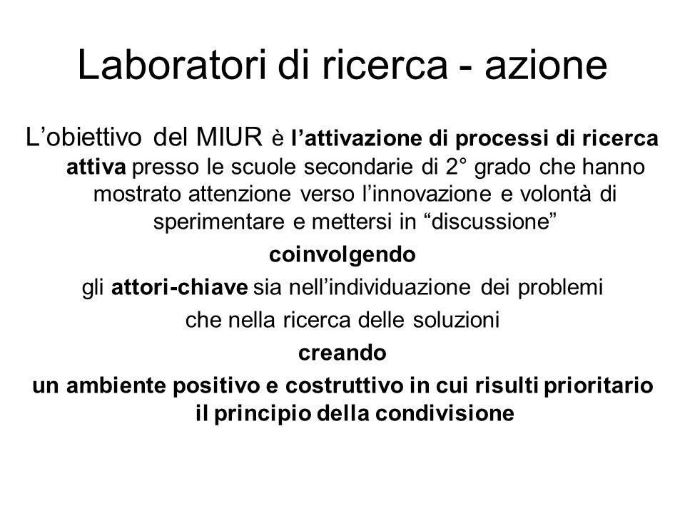 Laboratori di ricerca - azione Lobiettivo del MIUR è lattivazione di processi di ricerca attiva presso le scuole secondarie di 2° grado che hanno most