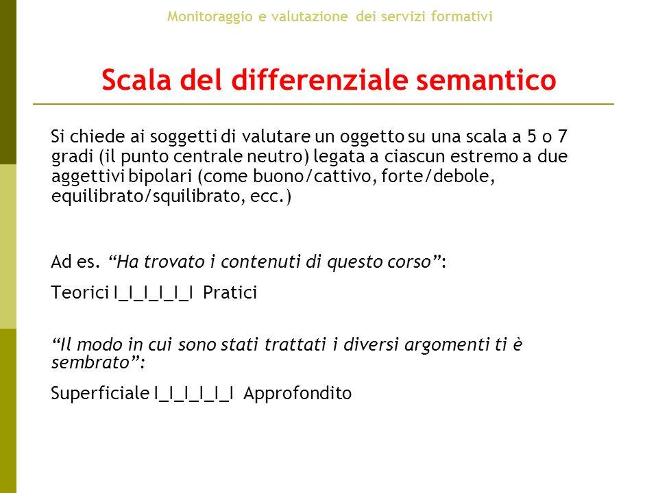 Scala del differenziale semantico Si chiede ai soggetti di valutare un oggetto su una scala a 5 o 7 gradi (il punto centrale neutro) legata a ciascun