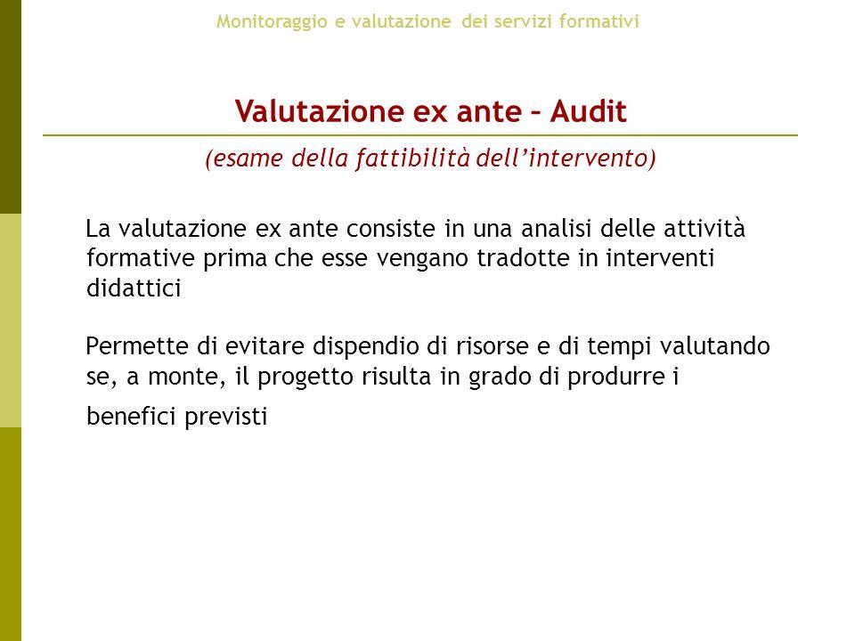 Monitoraggio e valutazione dei servizi formativi Valutazione ex ante – Audit (esame della fattibilità dellintervento) La valutazione ex ante consiste