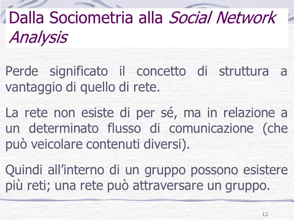 12 Dalla Sociometria alla Social Network Analysis Perde significato il concetto di struttura a vantaggio di quello di rete.