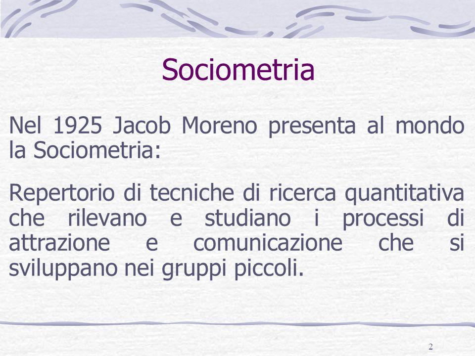 2 Sociometria Nel 1925 Jacob Moreno presenta al mondo la Sociometria: Repertorio di tecniche di ricerca quantitativa che rilevano e studiano i processi di attrazione e comunicazione che si sviluppano nei gruppi piccoli.