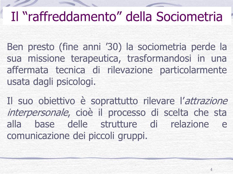 4 Il raffreddamento della Sociometria Ben presto (fine anni 30) la sociometria perde la sua missione terapeutica, trasformandosi in una affermata tecnica di rilevazione particolarmente usata dagli psicologi.