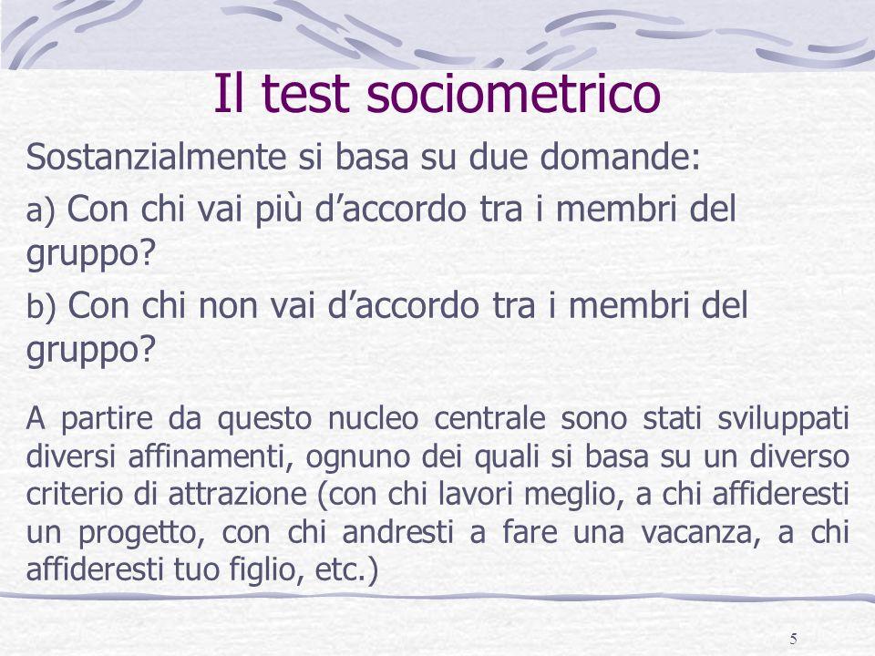 6 Preparare un test socimetrico Quando si realizza un test sociometrico, a ciascun partecipante viene chiesto di designare un numero prefissato di scelte e di repulsioni.