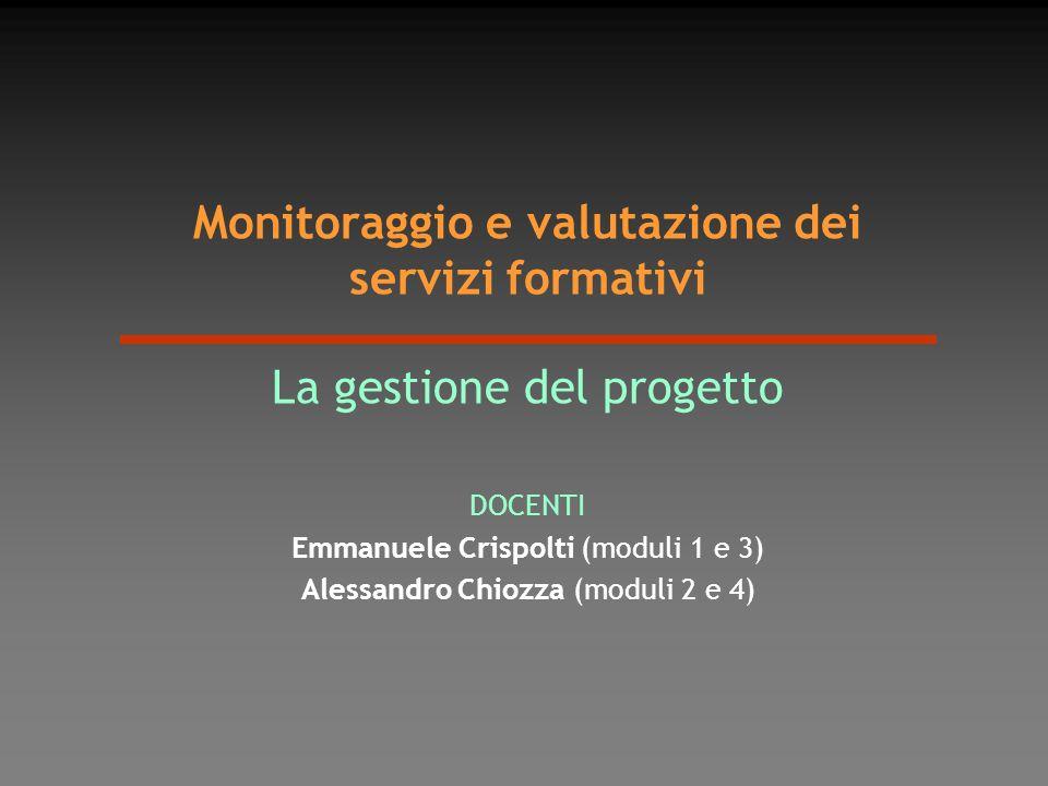 Monitoraggio e valutazione dei servizi formativi La gestione del progetto DOCENTI Emmanuele Crispolti (moduli 1 e 3) Alessandro Chiozza (moduli 2 e 4)