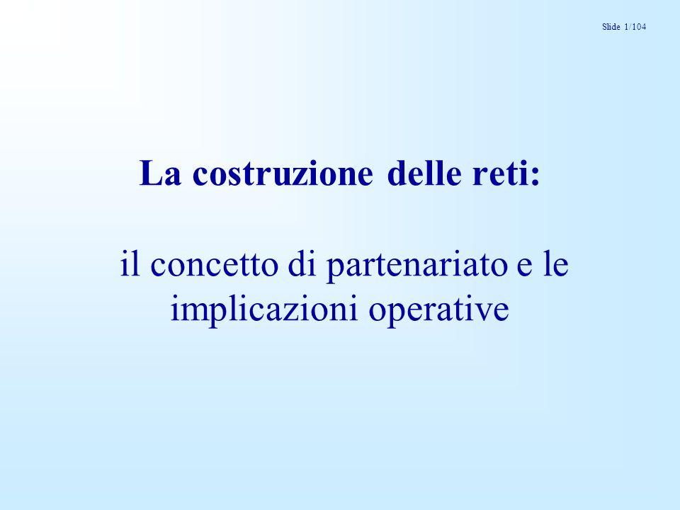 Slide 1/104 La costruzione delle reti: il concetto di partenariato e le implicazioni operative