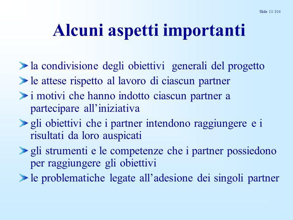 Slide 11/104 Alcuni aspetti importanti la condivisione degli obiettivi generali del progetto le attese rispetto al lavoro di ciascun partner i motivi