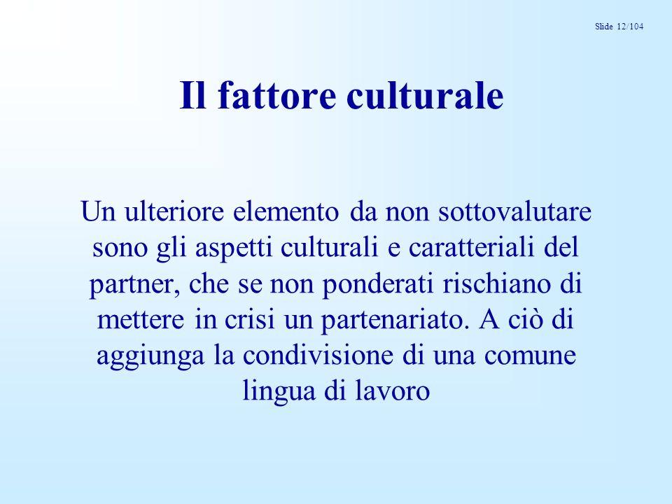 Slide 12/104 Il fattore culturale Un ulteriore elemento da non sottovalutare sono gli aspetti culturali e caratteriali del partner, che se non pondera
