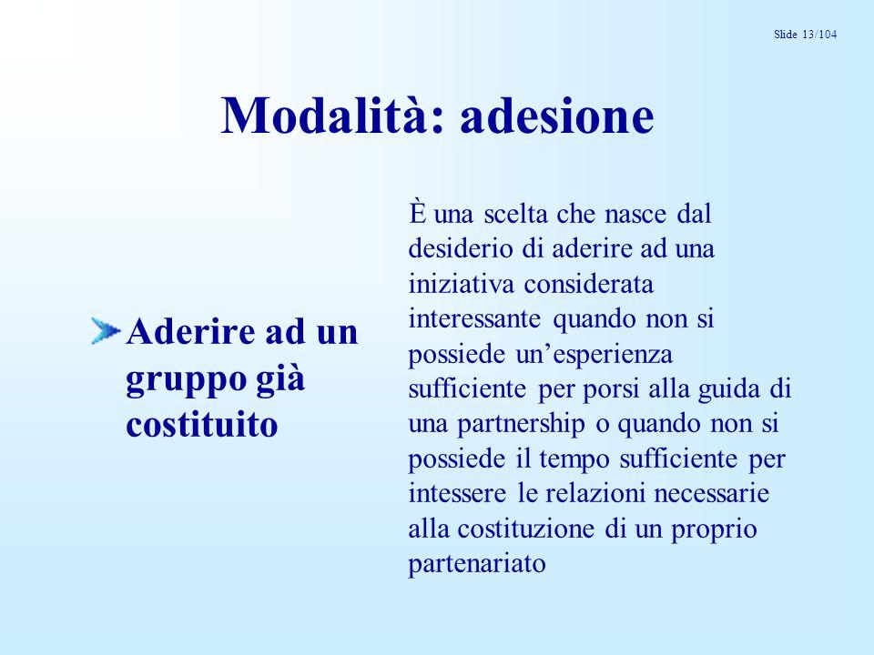 Slide 13/104 Modalità: adesione Aderire ad un gruppo già costituito È una scelta che nasce dal desiderio di aderire ad una iniziativa considerata inte