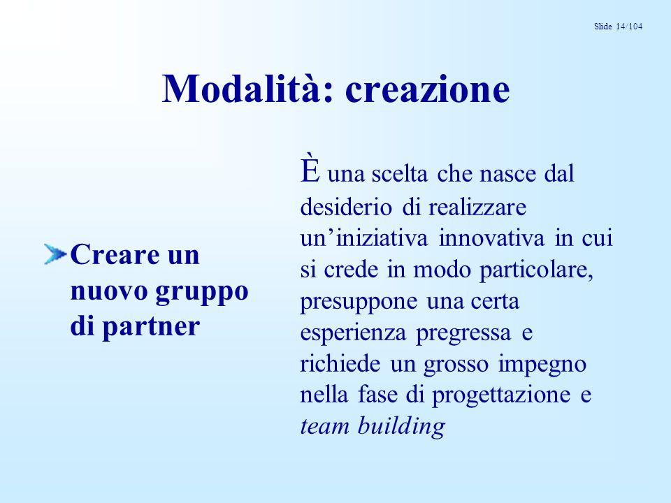 Slide 14/104 Modalità: creazione Creare un nuovo gruppo di partner È una scelta che nasce dal desiderio di realizzare uniniziativa innovativa in cui s