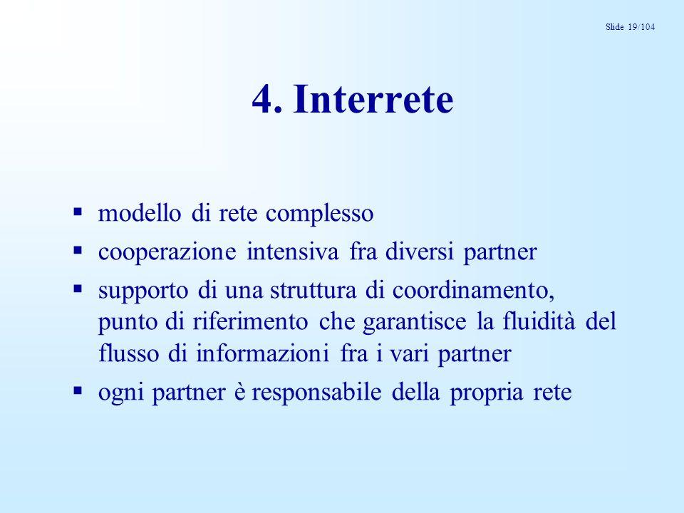 Slide 19/104 4. Interrete modello di rete complesso cooperazione intensiva fra diversi partner supporto di una struttura di coordinamento, punto di ri
