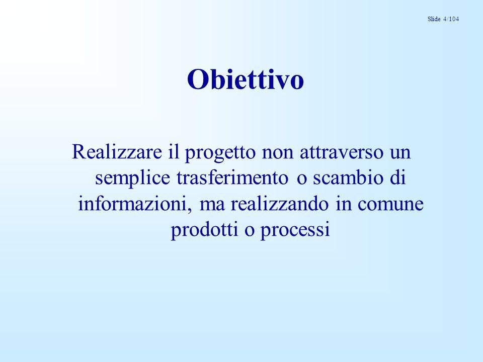 Slide 4/104 Obiettivo Realizzare il progetto non attraverso un semplice trasferimento o scambio di informazioni, ma realizzando in comune prodotti o processi