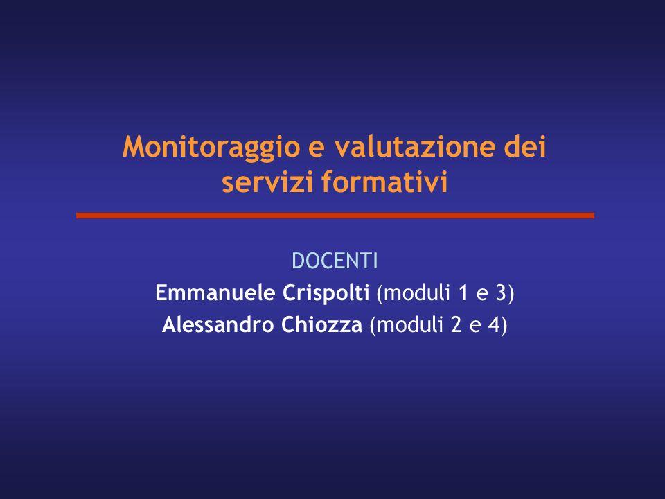 Monitoraggio e valutazione dei servizi formativi DOCENTI Emmanuele Crispolti (moduli 1 e 3) Alessandro Chiozza (moduli 2 e 4)