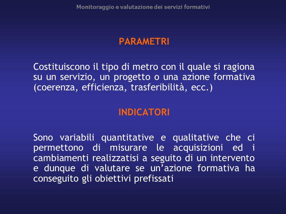 Monitoraggio e valutazione dei servizi formativi PARAMETRI Costituiscono il tipo di metro con il quale si ragiona su un servizio, un progetto o una az