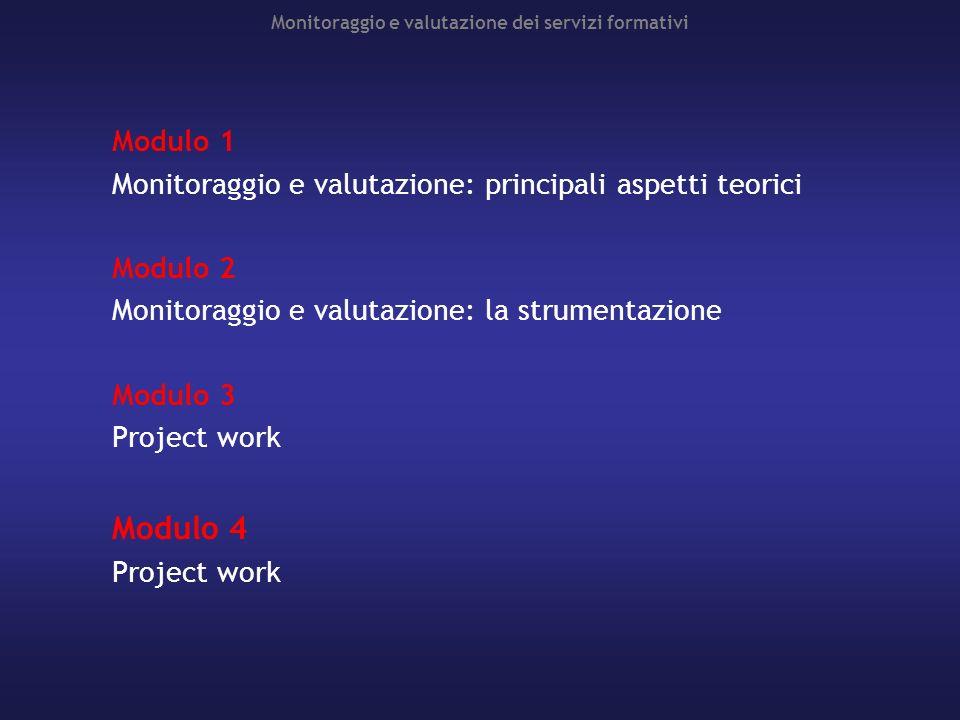 Monitoraggio e valutazione dei servizi formativi Modulo 1 Monitoraggio e valutazione: principali aspetti teorici Modulo 2 Monitoraggio e valutazione: