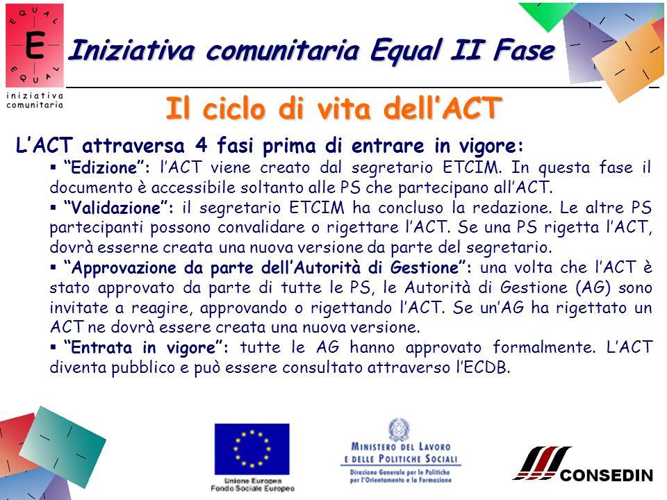Il ciclo di vita dellACT Iniziativa comunitaria Equal II Fase LACT attraversa 4 fasi prima di entrare in vigore: Edizione: lACT viene creato dal segretario ETCIM.