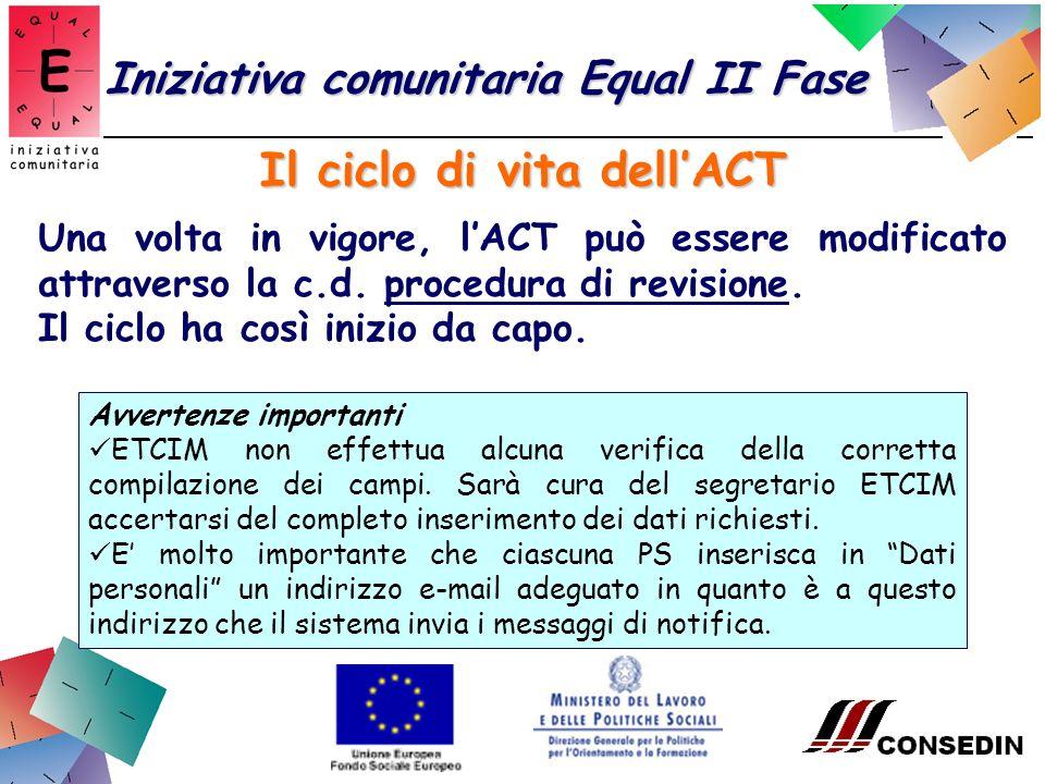 Il ciclo di vita dellACT Iniziativa comunitaria Equal II Fase Una volta in vigore, lACT può essere modificato attraverso la c.d.