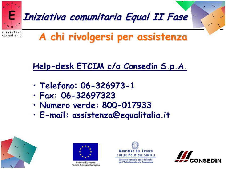 A chi rivolgersi per assistenza Iniziativa comunitaria Equal II Fase Help-desk ETCIM c/o Consedin S.p.A.