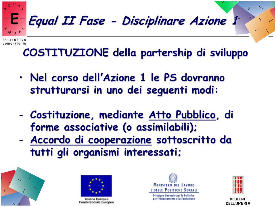 Equal II Fase - Disciplinare Azione 1 COSTITUZIONE della partership di sviluppo Nel corso dell Azione 1 le PS dovranno strutturarsi in uno dei seguent