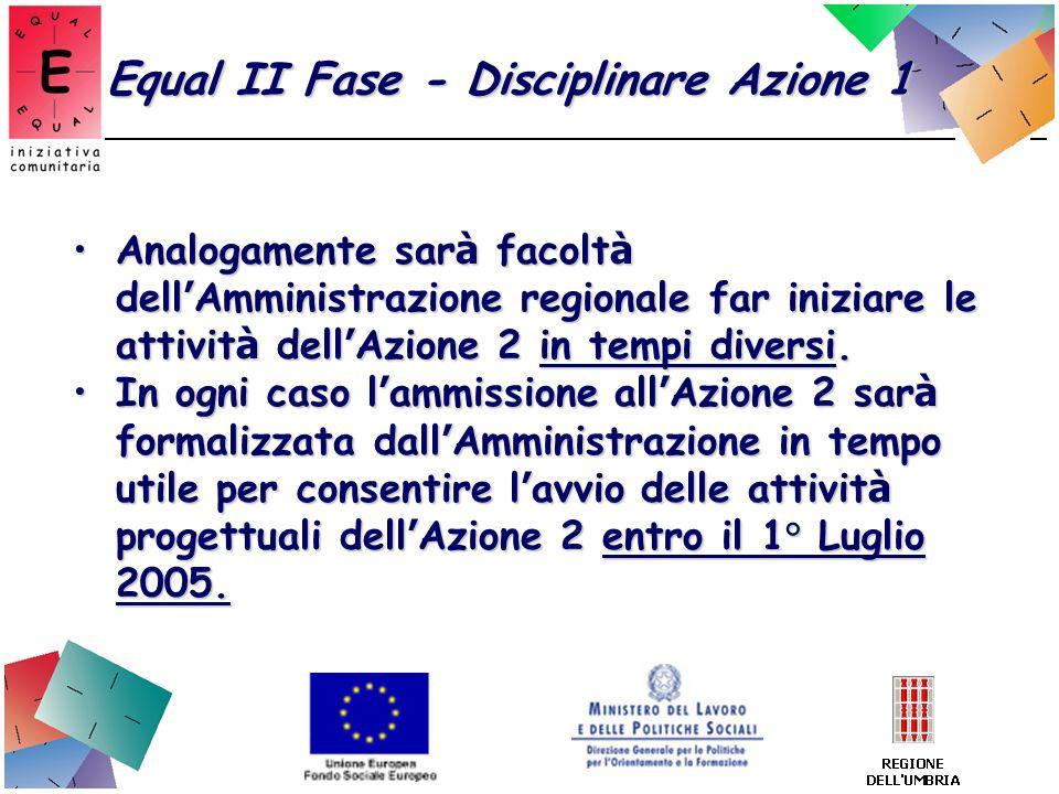 Equal II Fase - Disciplinare Azione 1 Analogamente sar à facolt à dell Amministrazione regionale far iniziare le attivit à dell Azione 2 in tempi dive