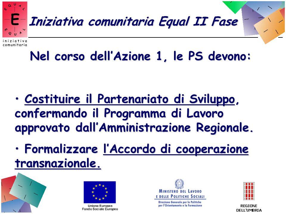 Nel corso dellAzione 1, le PS devono: Costituire il Partenariato di Sviluppo, confermando il Programma di Lavoro approvato dallAmministrazione Regiona