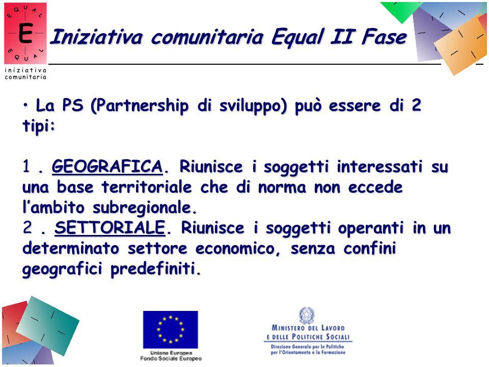 Iniziativa comunitaria Equal II Fase Differenza Partenariato - Rete Il partenariato è il gestore delle risorse finanziarie;Il partenariato è il gestore delle risorse finanziarie; La rete è costituita da organismi che condividono l esperienza progettuale in termini di ricadute e di sostenibilità, ma non gestisconoo risorse finanziarie.