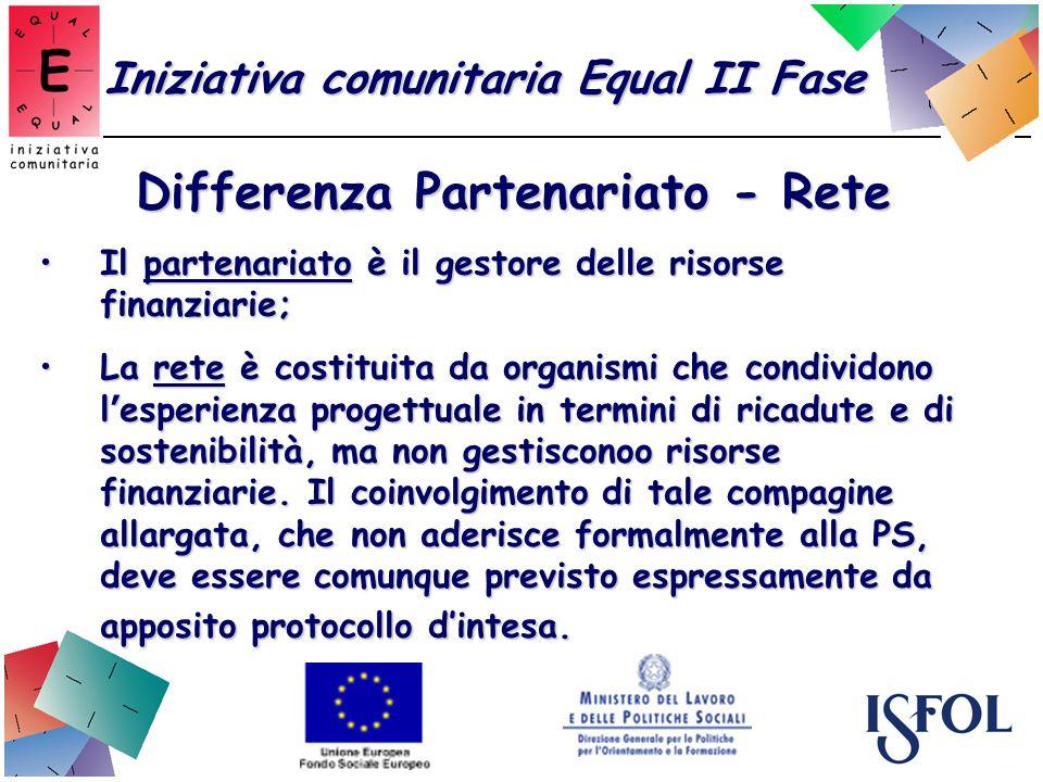 Iniziativa comunitaria Equal II Fase Differenza Partenariato - Rete Il partenariato è il gestore delle risorse finanziarie;Il partenariato è il gestor