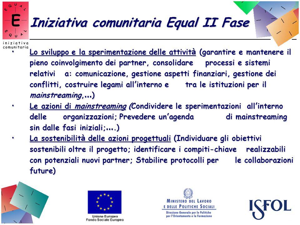 Iniziativa comunitaria Equal II Fase Lo sviluppo e la sperimentazione delle attivit à (garantire e mantenere il pieno coinvolgimento dei partner, cons