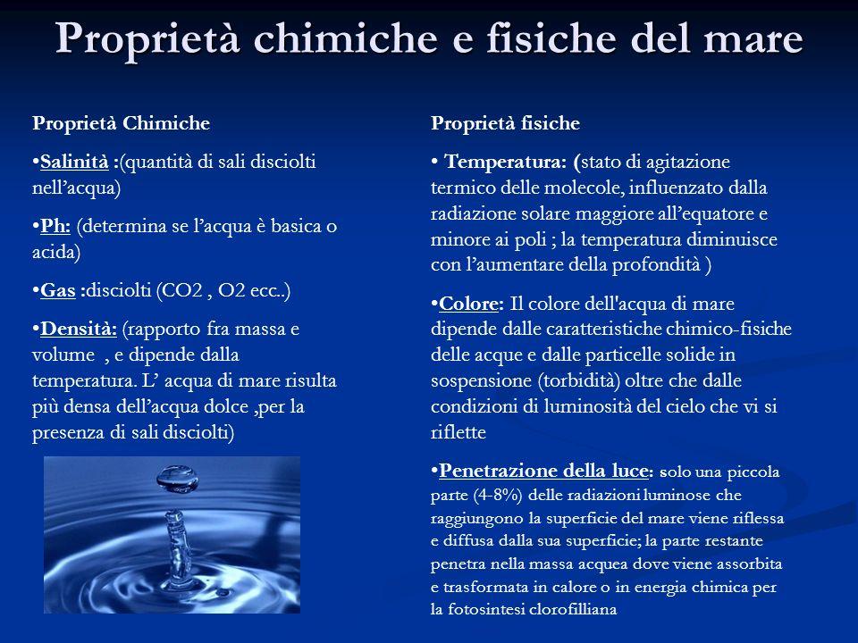 Proprietà chimiche e fisiche del mare Proprietà Chimiche Salinità :(quantità di sali disciolti nellacqua) Ph: (determina se lacqua è basica o acida) G