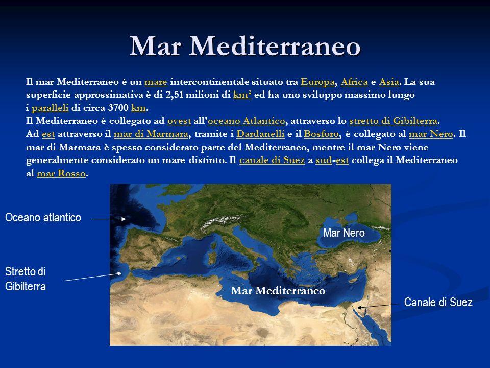 Mar Mediterraneo Il mar Mediterraneo è un mare intercontinentale situato tra Europa, Africa e Asia. La sua superficie approssimativa è di 2,51 milioni