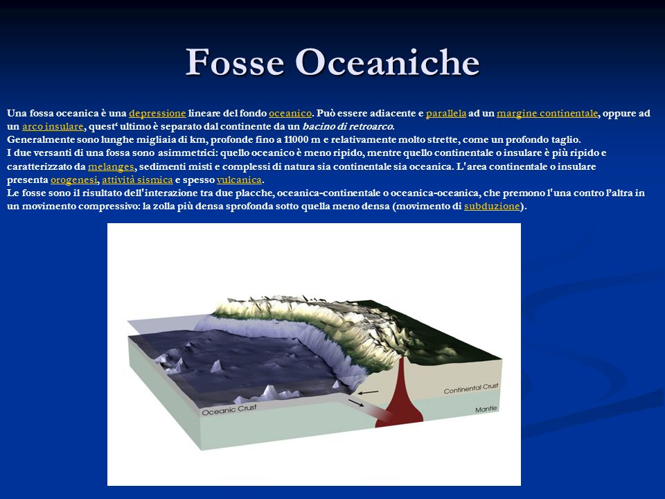 Fosse Oceaniche Una fossa oceanica è una depressione lineare del fondo oceanico. Può essere adiacente e parallela ad un margine continentale, oppure a