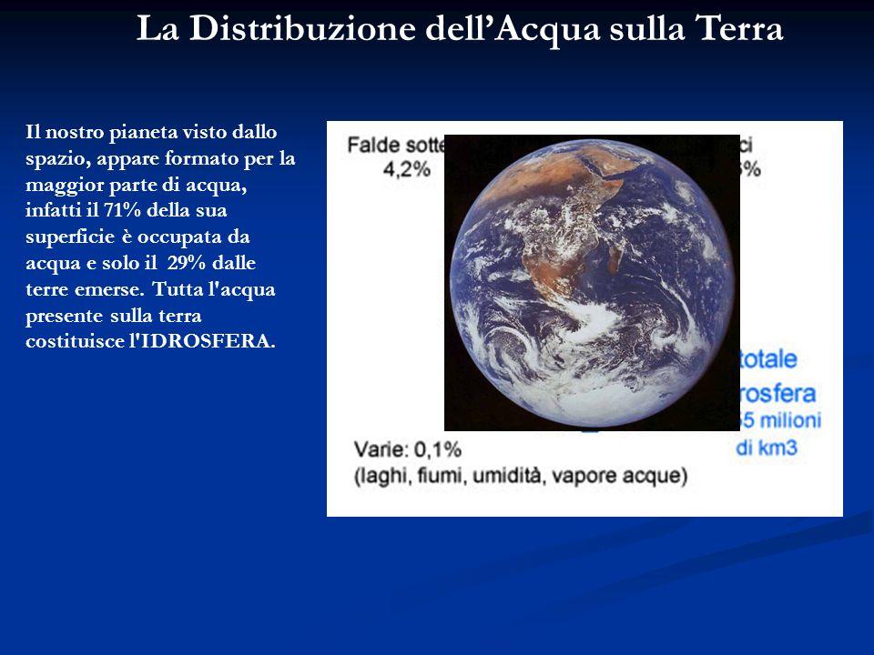 La Distribuzione dellAcqua sulla Terra Il nostro pianeta visto dallo spazio, appare formato per la maggior parte di acqua, infatti il 71% della sua su