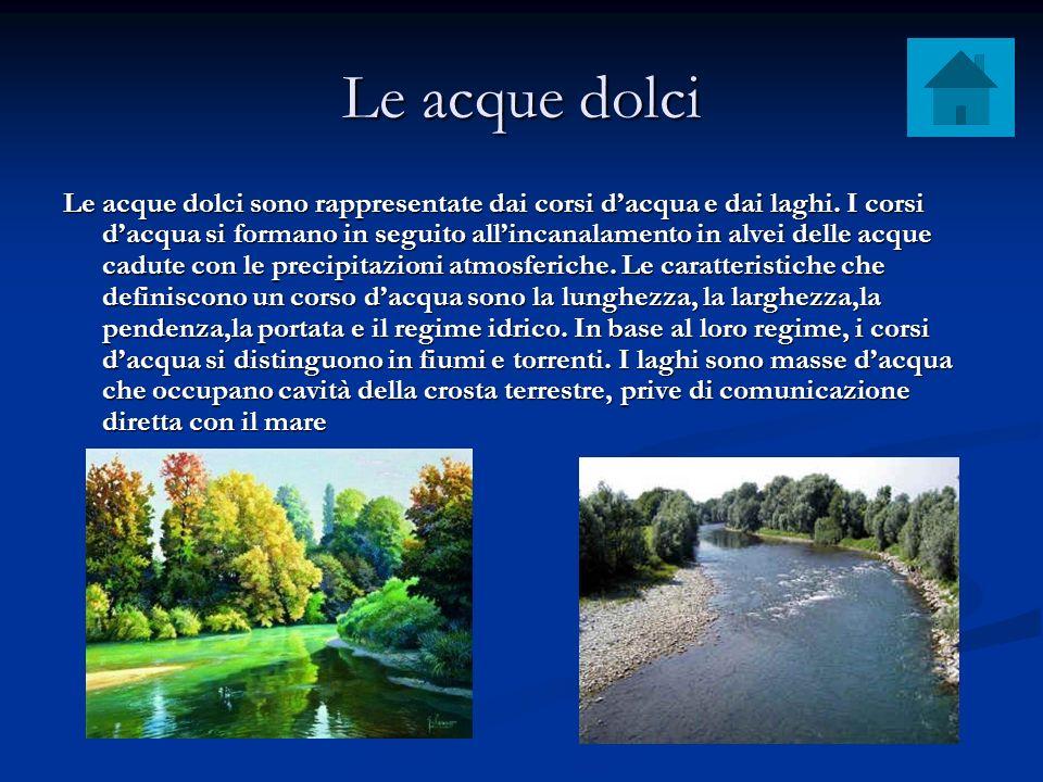 Le acque dolci Le acque dolci sono rappresentate dai corsi dacqua e dai laghi. I corsi dacqua si formano in seguito allincanalamento in alvei delle ac