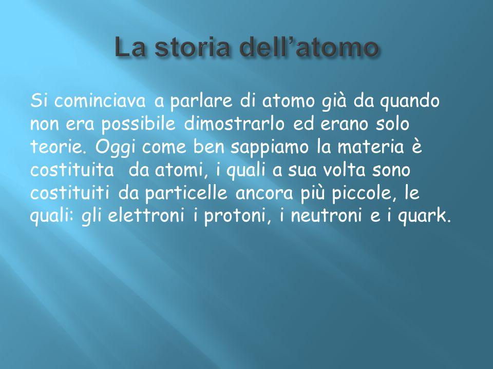 Si cominciava a parlare di atomo già da quando non era possibile dimostrarlo ed erano solo teorie. Oggi come ben sappiamo la materia è costituita da a