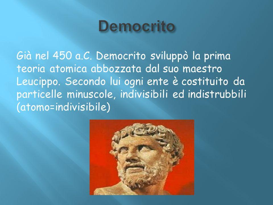 Già nel 450 a.C. Democrito sviluppò la prima teoria atomica abbozzata dal suo maestro Leucippo. Secondo lui ogni ente è costituito da particelle minus